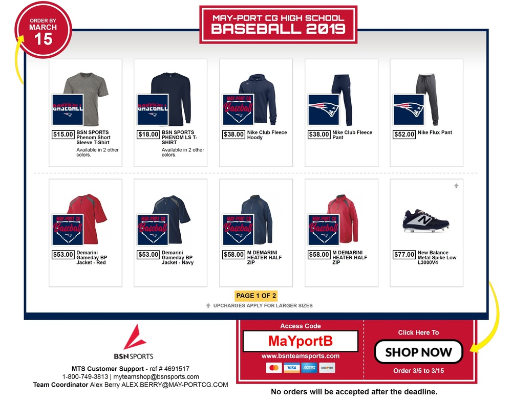 MPCG BASEBALL APPAREL STORE NOW OPEN
