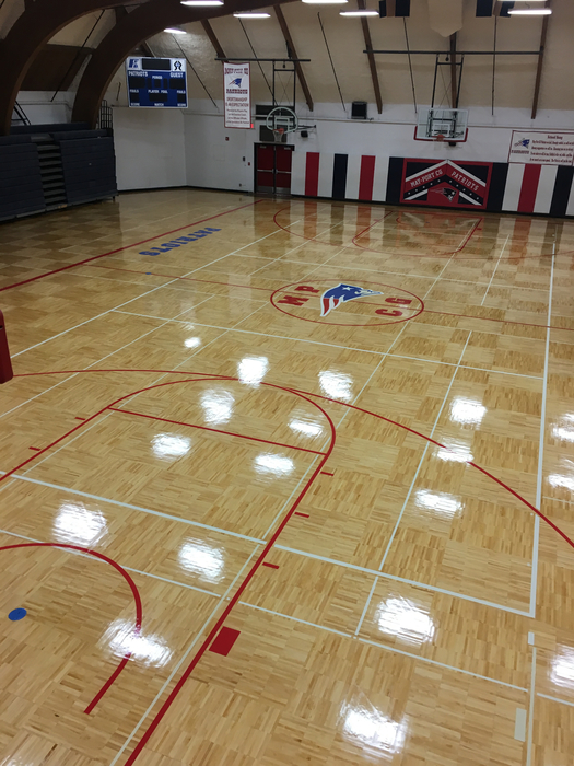 Gym floor complete.
