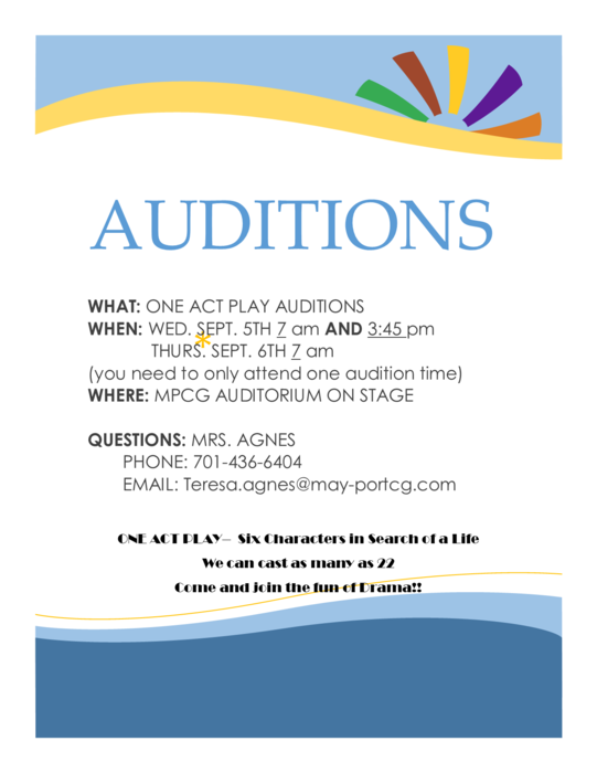 One Act Play Auditions
