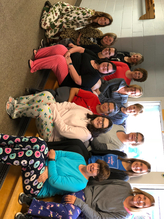 PBJ teachers celebrating pajama day!!