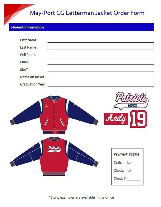 Letterman Jacket Order Form
