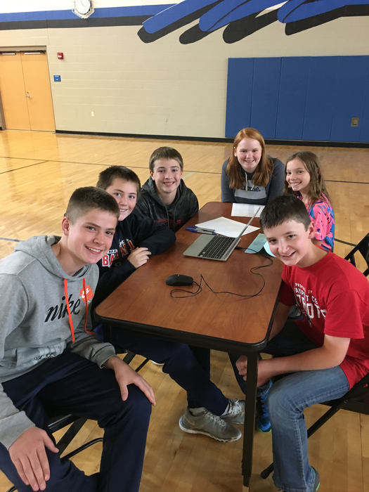 Ready to do battle at the Northwood MS Academic Challenge.
