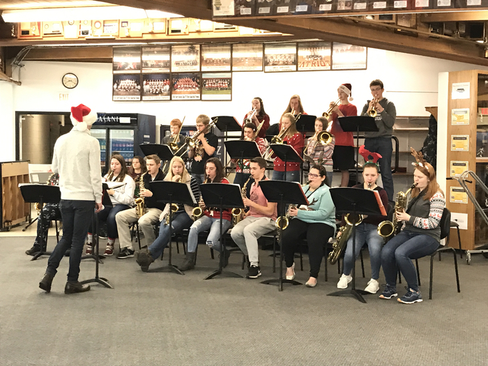 Jazz band playing Christmas songs before school