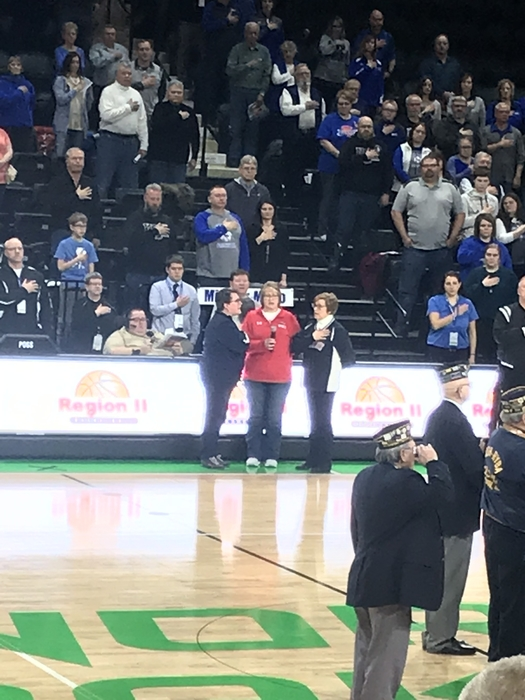Our very own Teresa Agnes, Lori Nelson, and Helen Hoyt singing the National Anthem at the Region 2 Girl's Basketball Tournament