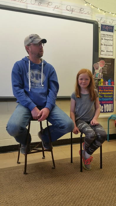 Matt Grandalen teaches 3rd grade about farming with his daughter Mylie!