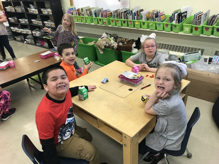 Snack time in Mrs. Kloster's first grade.