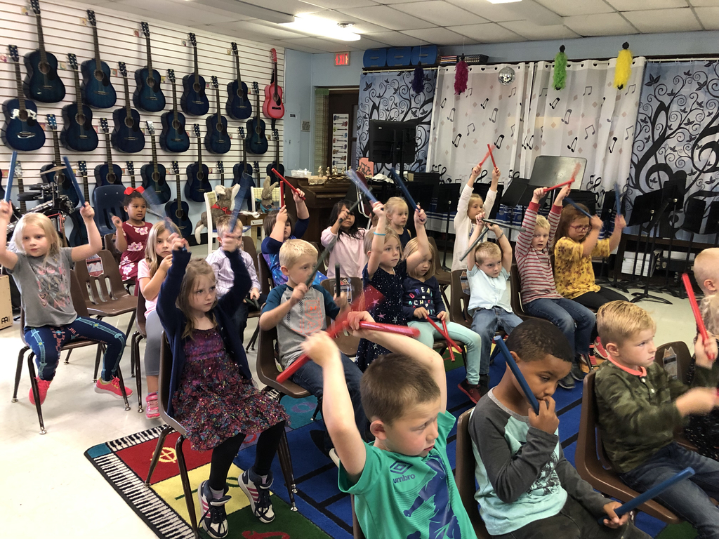 The Kindergarten kids are learning about rhythm instruments in Mrs. Nelson's class!