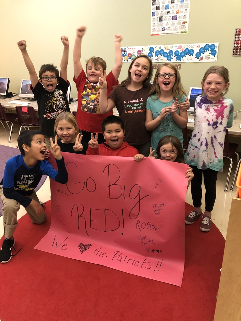 Some 2nd graders want to wish the Patriot Volleyball team good luck tonight! Go Big Ted! We ♥️ the Patriots!!!