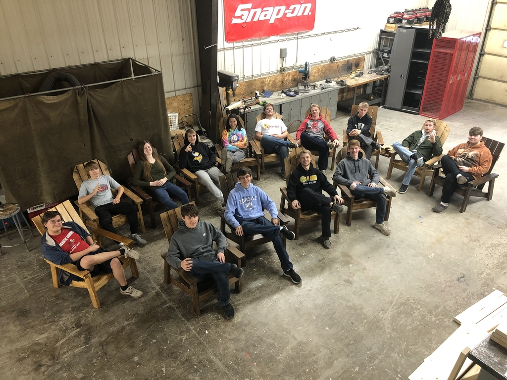 Ag Mech students in their finished anirondack chairs!