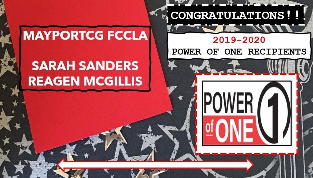 Congratulations MPCG FCCLA Power of One!  State Winners!!!